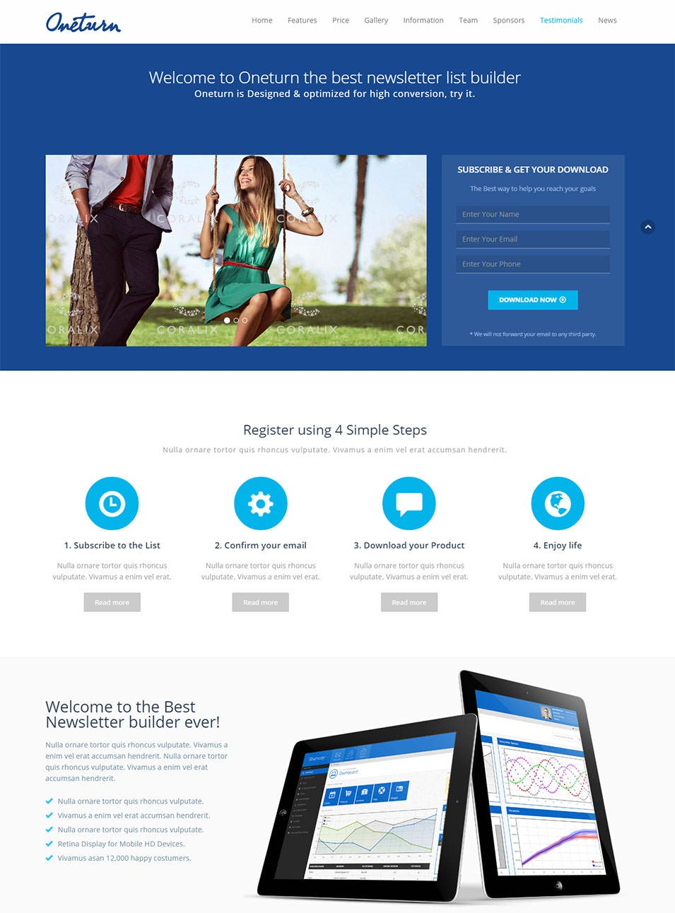 oneturn responsive bootstrap 3 landing page template