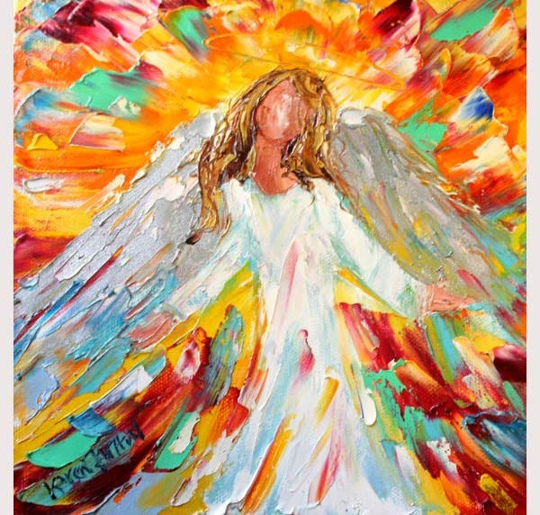 Original Angel of Hope palette knife painting
