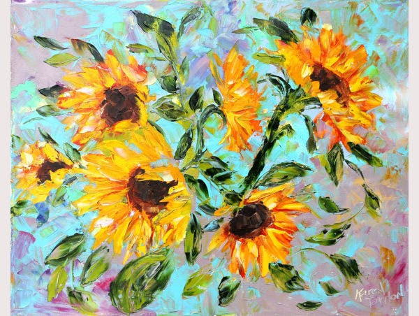 Original oil painting Autumn Sunflowers