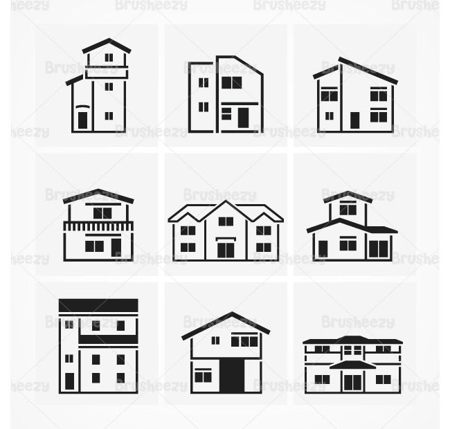 outlined house brushes pack