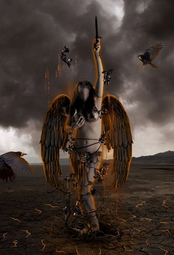 Photo Manipulate an Angel Rising From Hell Scene