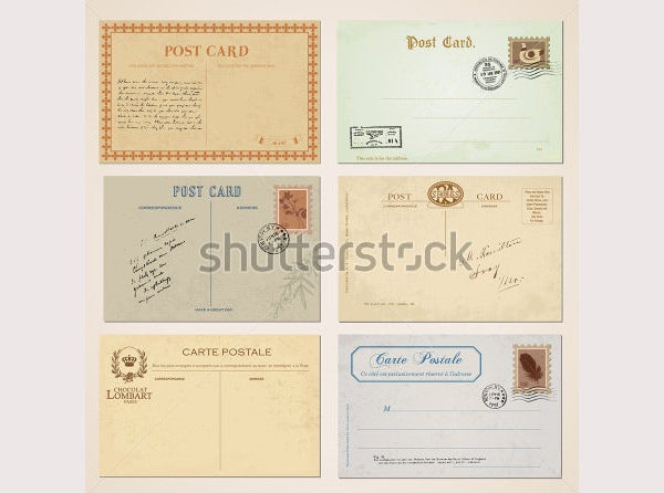 postcards and stamps in vintage design