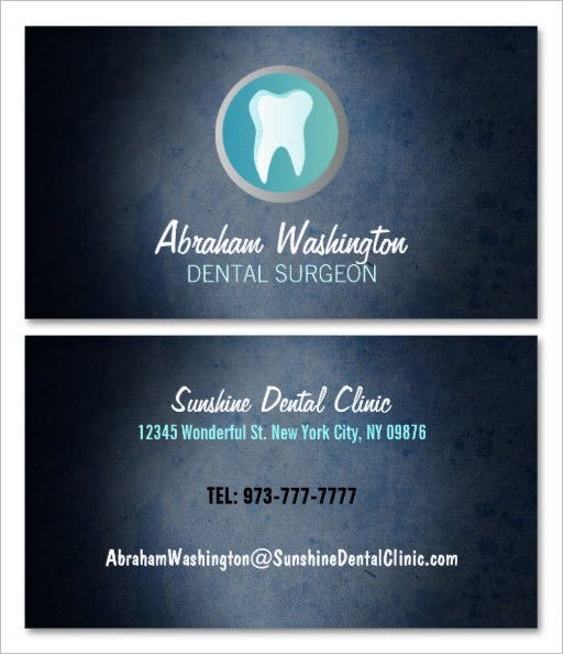 printable dental surgeon business card