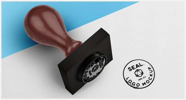 psd wood ink stamp seal mockup