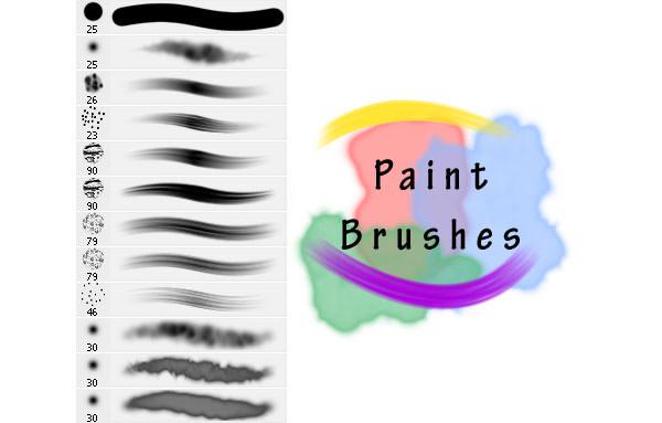 realistic paint brushe set