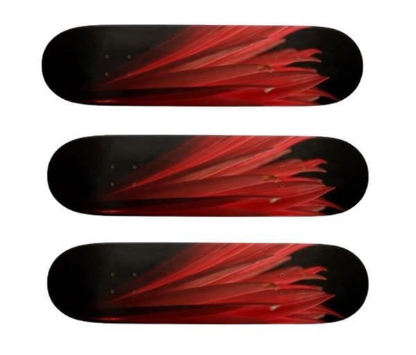 red and black design custom skateboard