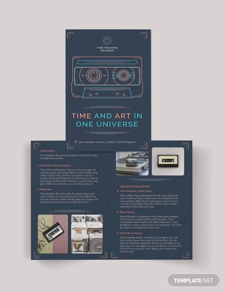 retro business bi fold brochure template
