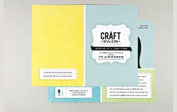 retro craft fair brochure template