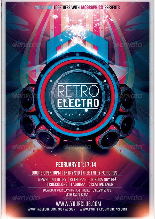 Retro Electro Flyer Template