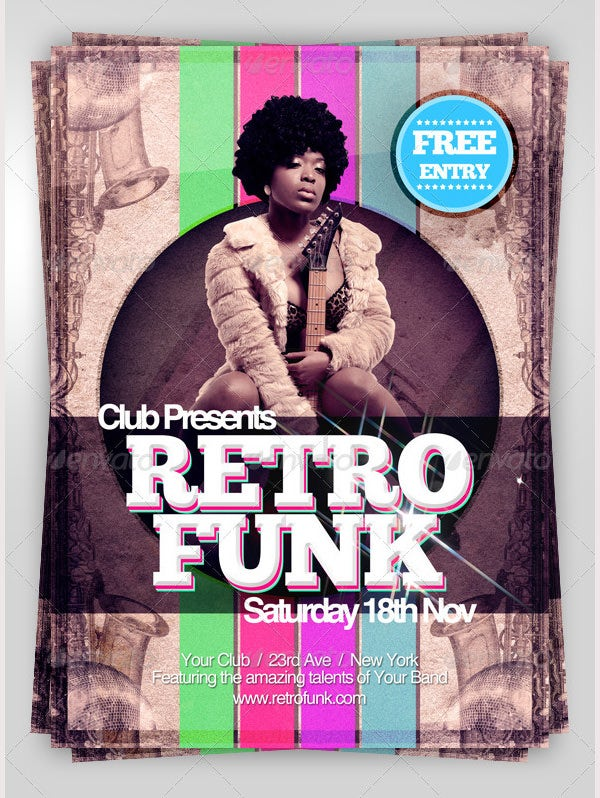 Retro A5 Flyer Template