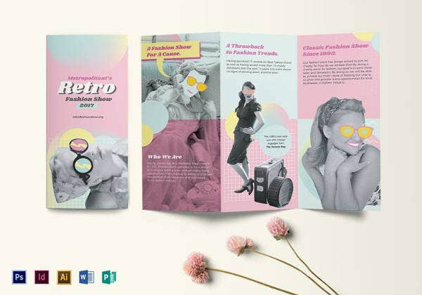 retro fashion tri fold brochure template