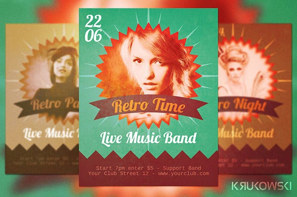 Retro Style Flyer Template 43 Free PSD Format Download – Retro Flyer Templates