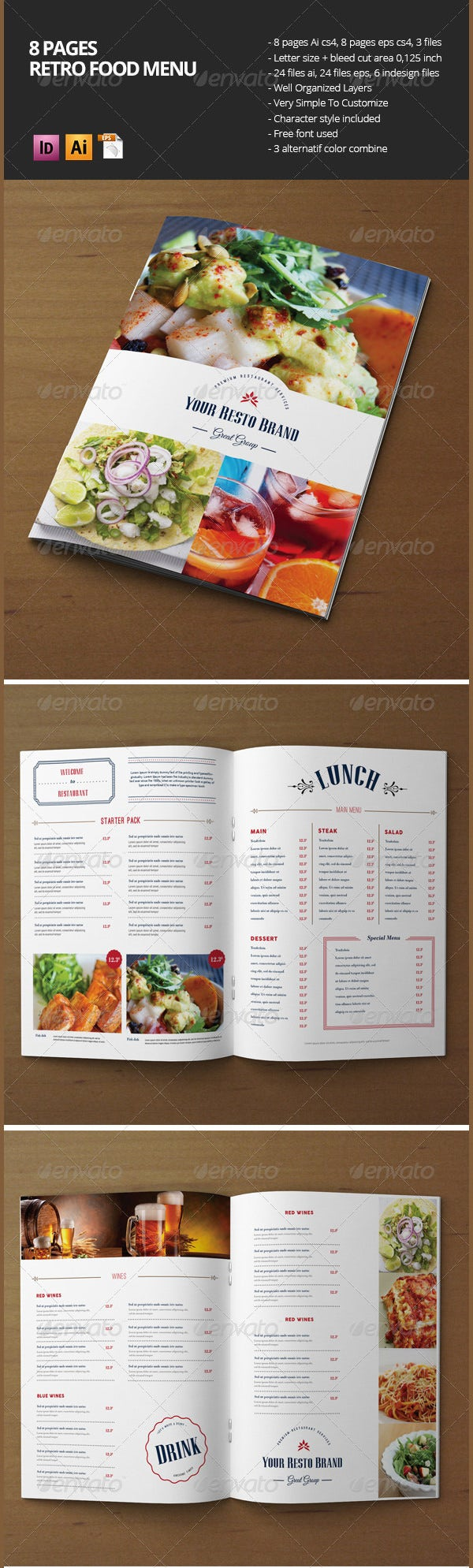 retro food menu brochure 8 pages