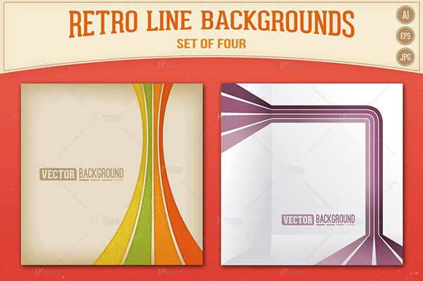 Retro Lines Vector Backgrounds Set