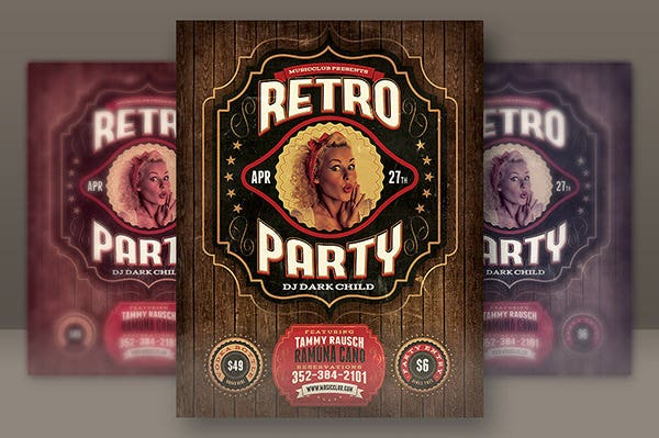 retro party flyer template3