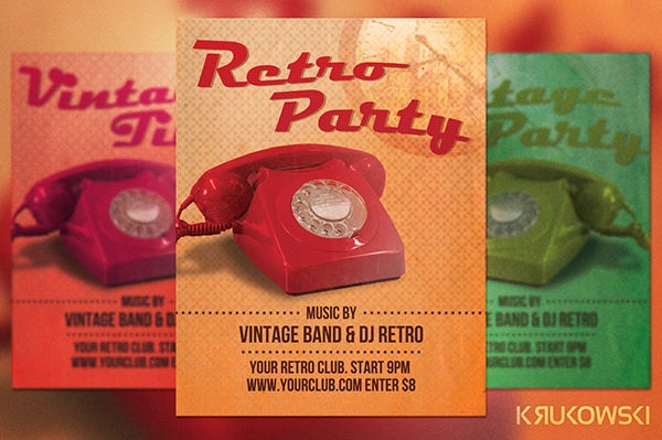 retro party flyer template4
