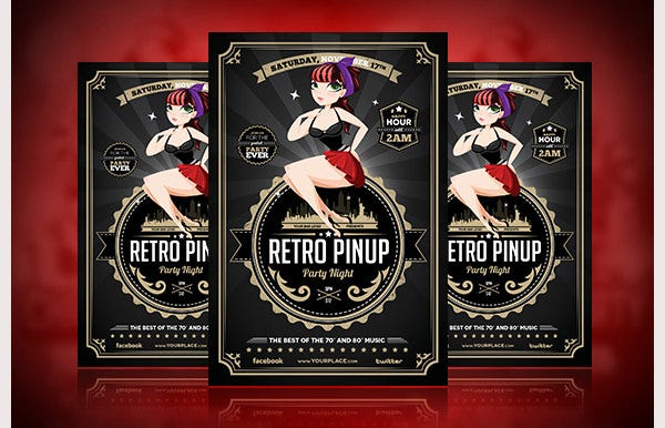 Retro style flyer template 41 free psd format download free retro pinup party flyer template saigontimesfo