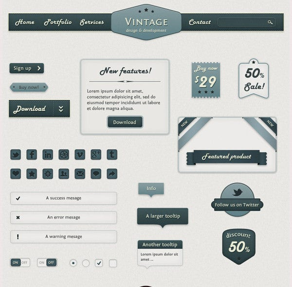 Retro Web Elements - Vintage Touch