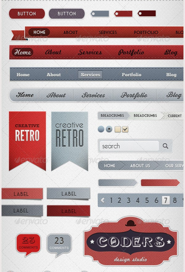 Retro Web Elements - Red and Grey Pack