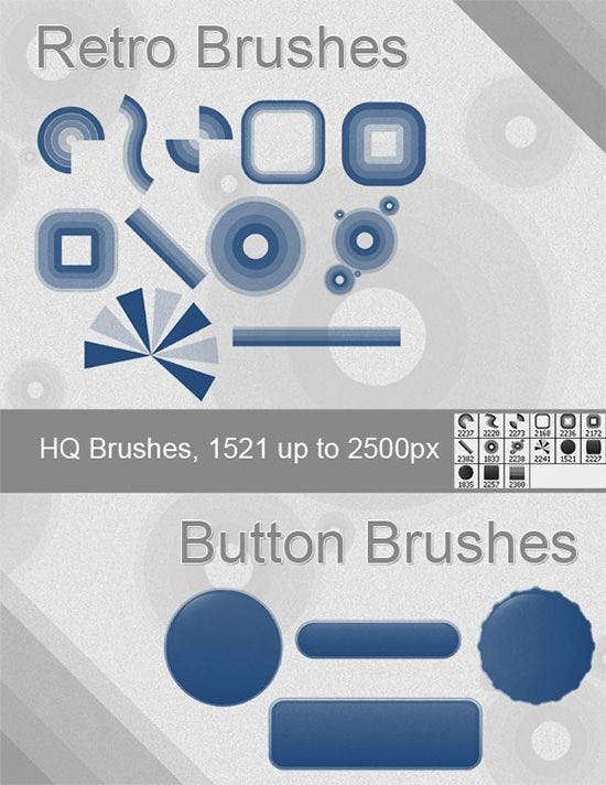 retro and button brushes