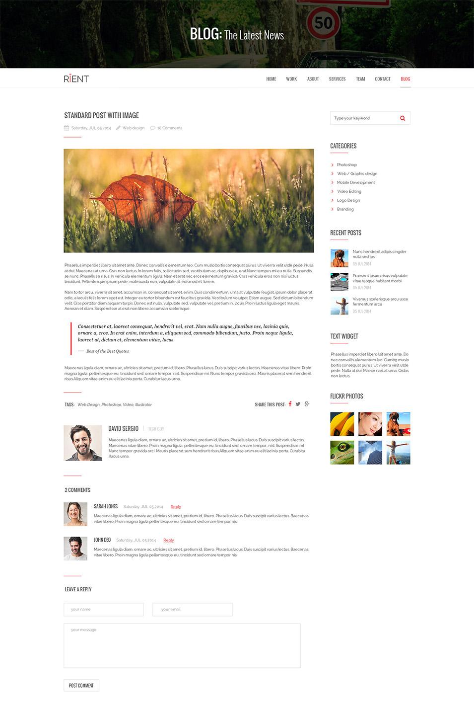 rient multi purpose parallax psd landing page