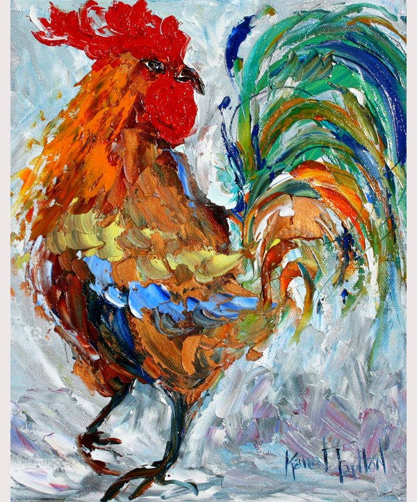 rooster dance from oil painting by karen tarlton