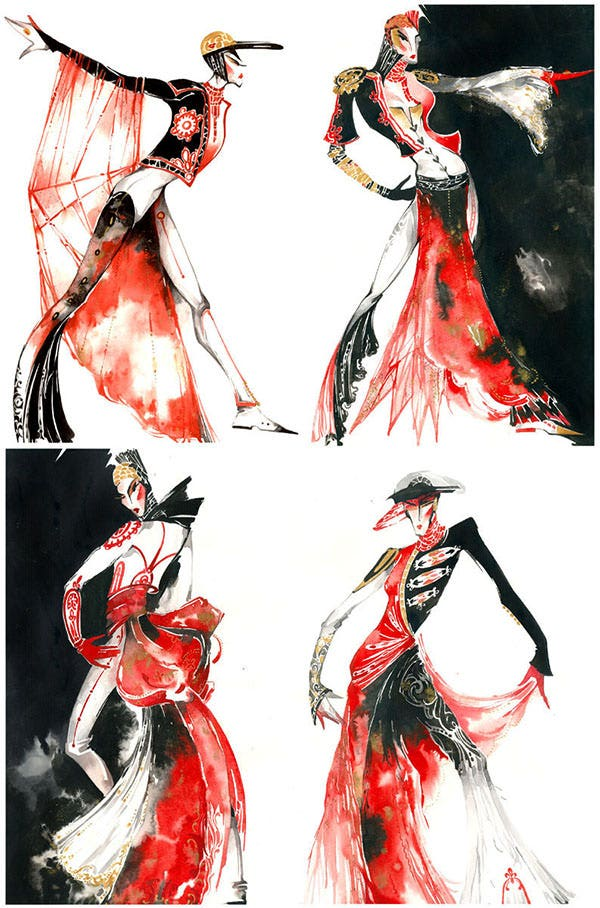 rouge et noir fashion sketch