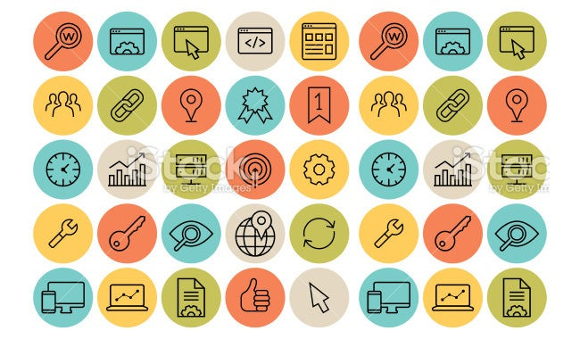 seo flat icon set
