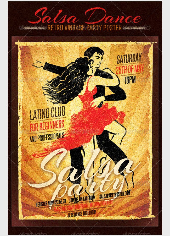 salsa dance club retro vintage party poster