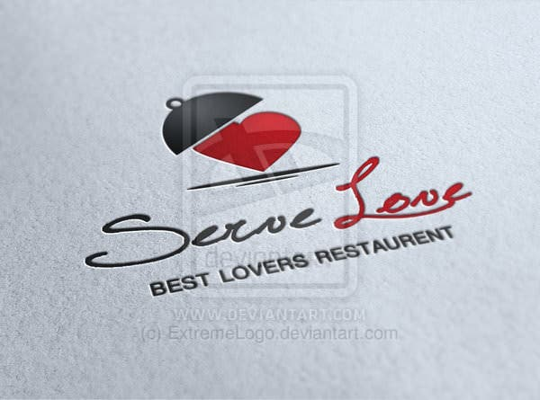 Serve Love Restaurant Cafe Food Logo
