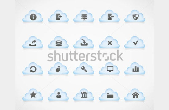 server icons on light clouds