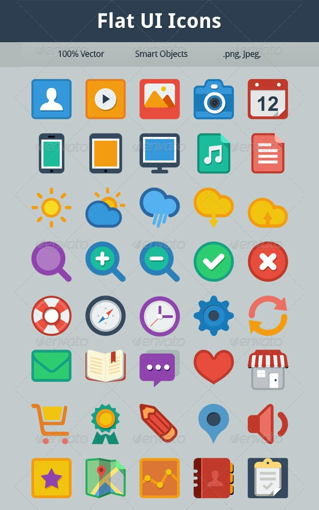 set of 40 flat ui icons
