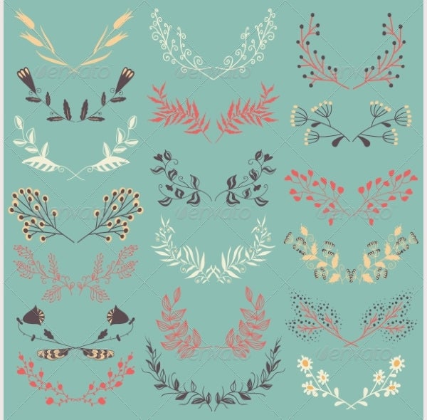 Set of Graphic Floral Design Elements