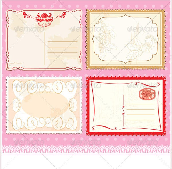 set of postcards in vintage design on polka dots