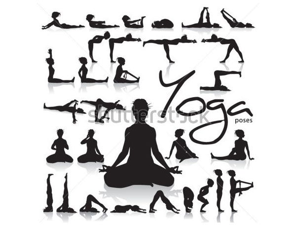 set of yoga postures made by figure silhouettes