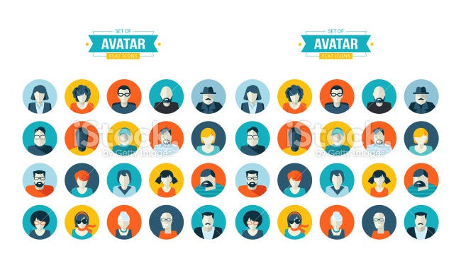set of avatar flat design icons