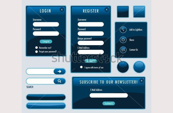 Set of blue web forms