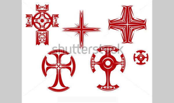 set of religious crosses and icons for religion design
