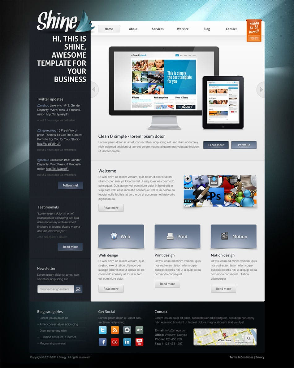 shine psd template
