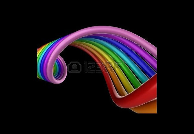 shiny 3d rainbow swirls