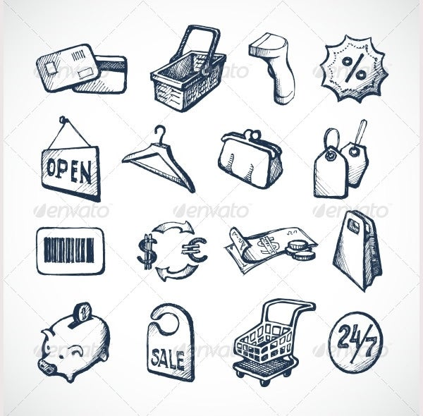 Shopping Sketch Icons