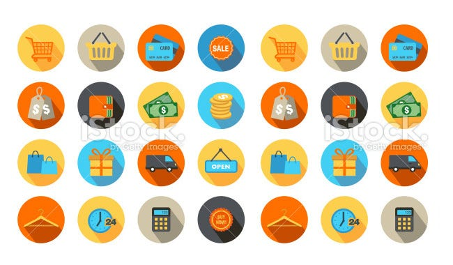 shopping ui icons flat design