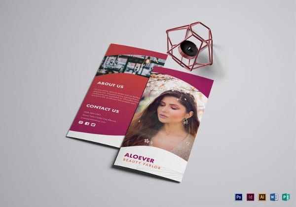 simple beauty parlor brochure template