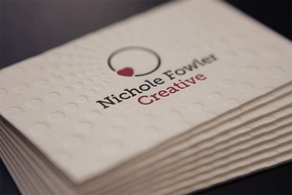 simple letterpress business card