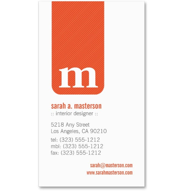 simple monogram designer business card