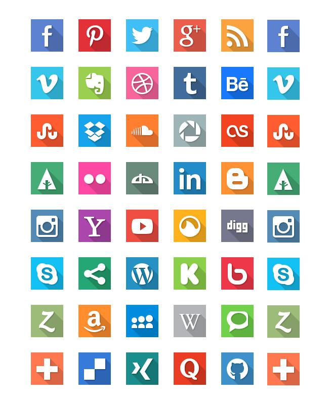 social media flat ui icons