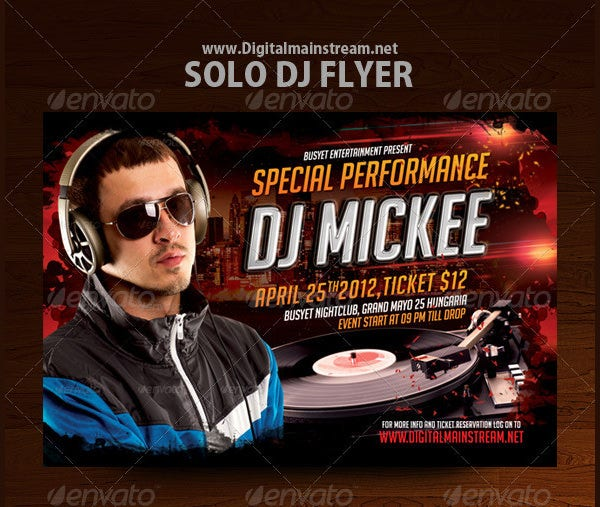 solo dj flyer template