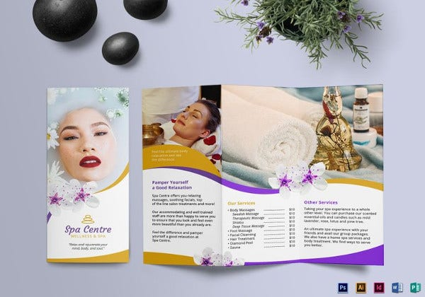 spa tri fold brochure indesign template