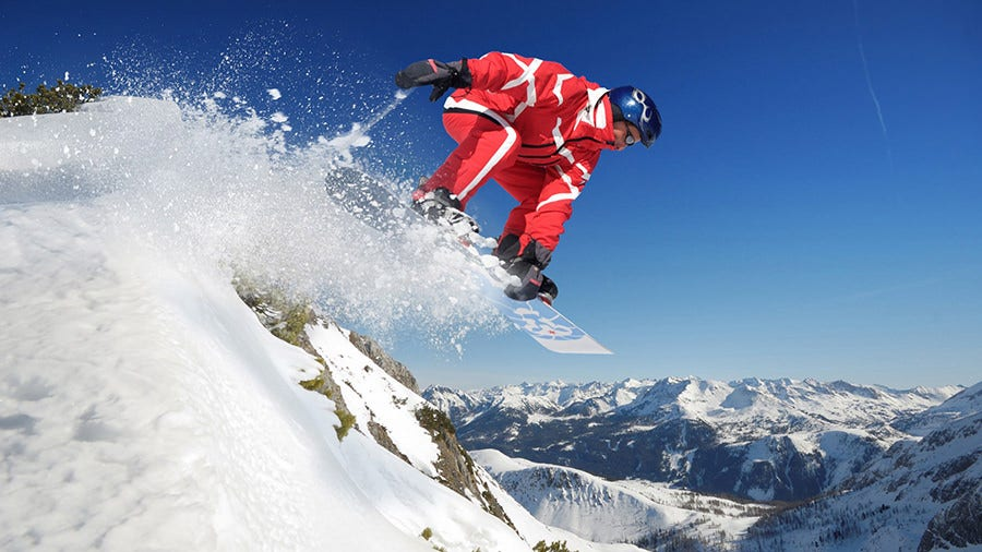 sport wallpaper snow mountains sky snowboarding jump copy