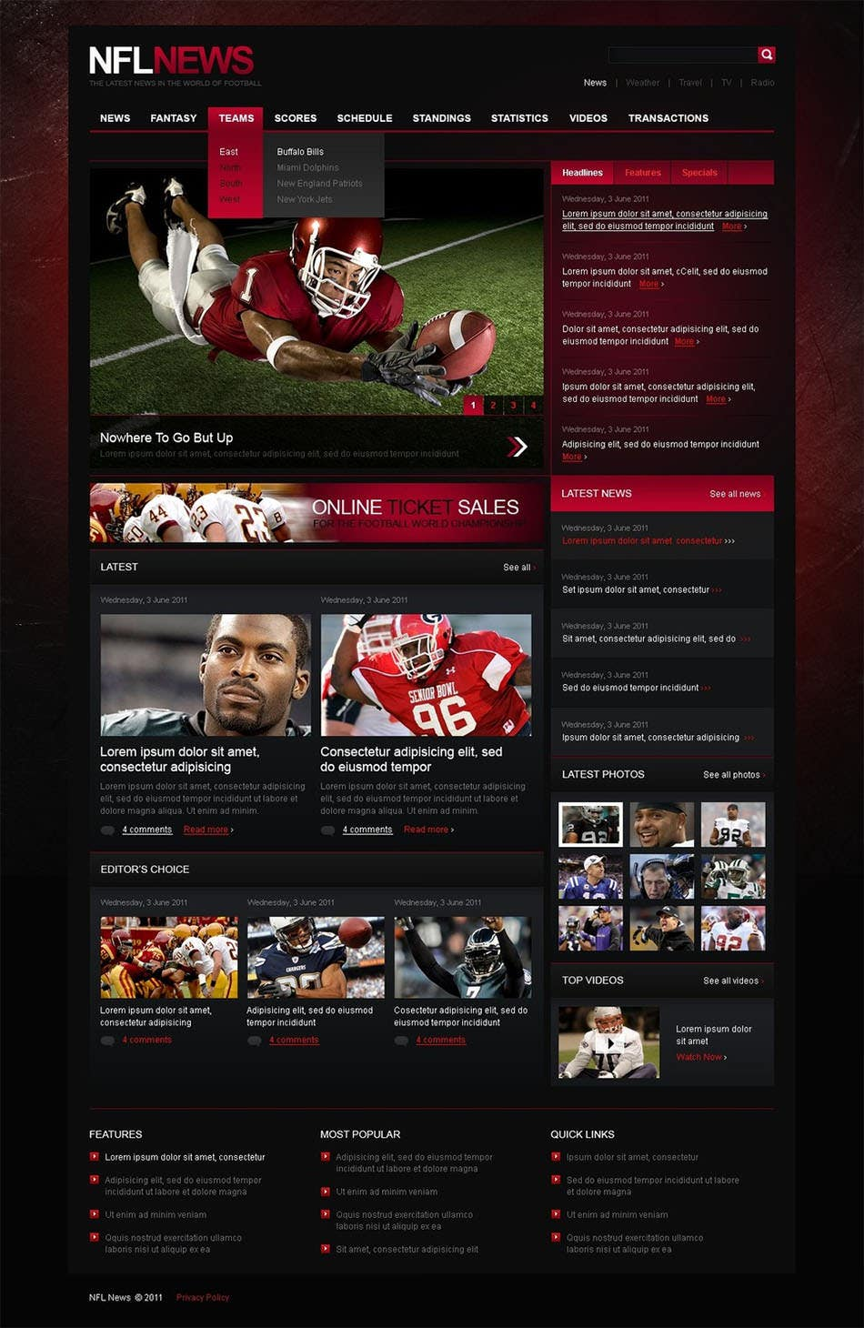 sports news psd template